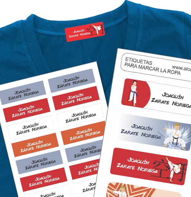 karate Etiquetas para marcar la ropa