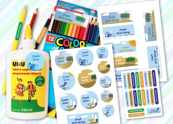 surf Etiquetas material escolar - Pack School