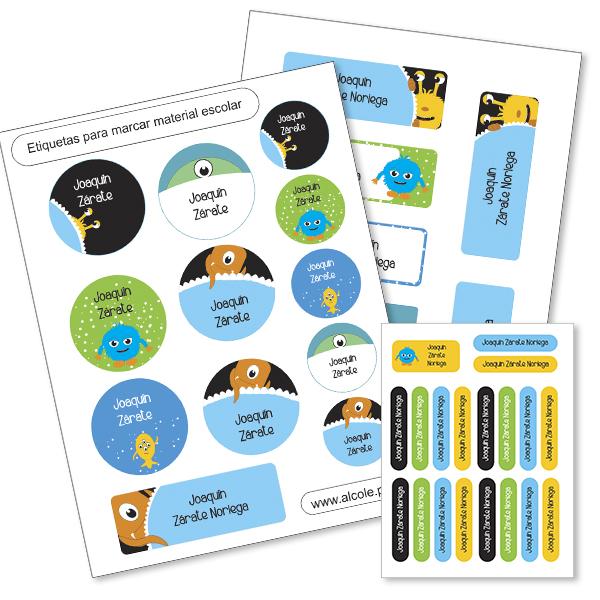 Etiquetas material escolar
