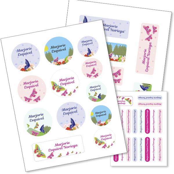 butterfly Etiquetas material escolar - Pack School
