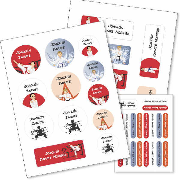 karate Etiquetas material escolar - Pack School