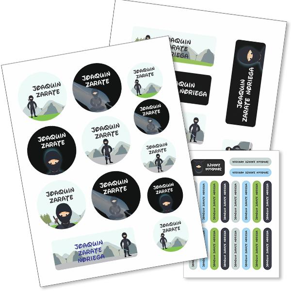 ninja Etiquetas material escolar - Pack Kinder