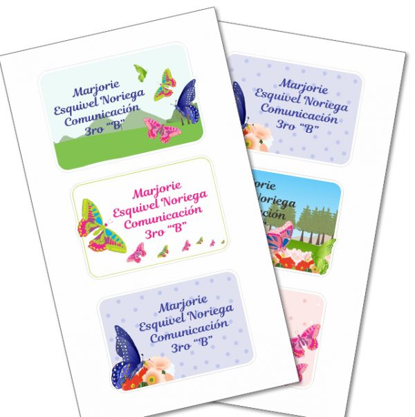 butterfly Etiquetas cuaderno