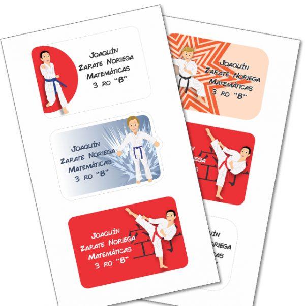 karate Etiquetas cuaderno