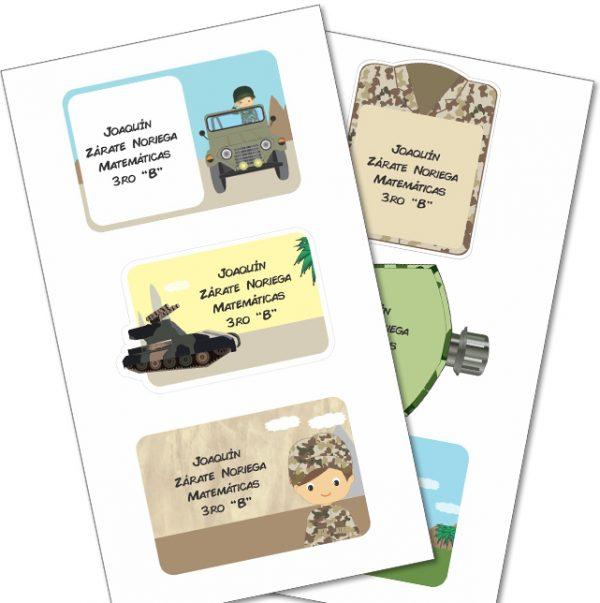 military Etiquetas cuaderno