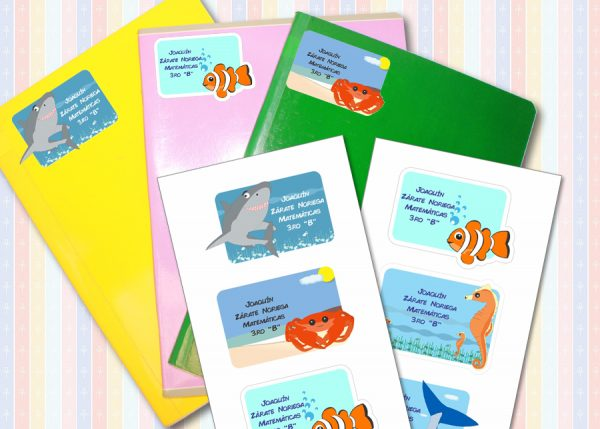 sea world Etiquetas cuaderno