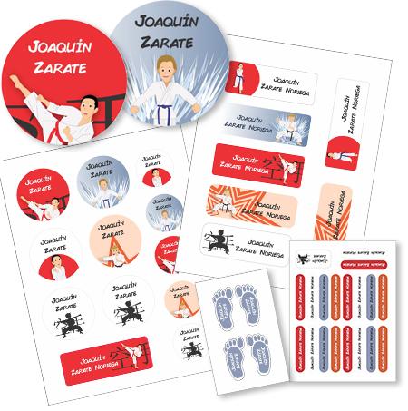 karate Etiquetas material escolar