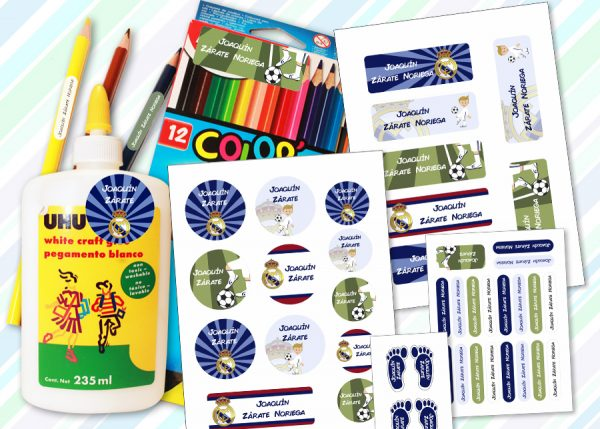 real madrid Etiquetas material escolar - Pack Kinder