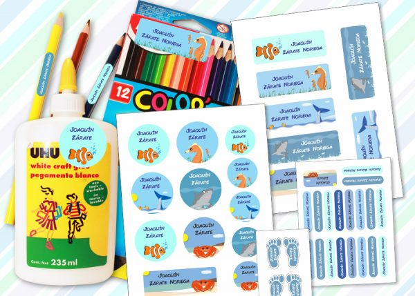 sea world Etiquetas material escolar - Pack Kinder