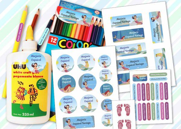 sirena Etiquetas material escolar - Pack Kinder