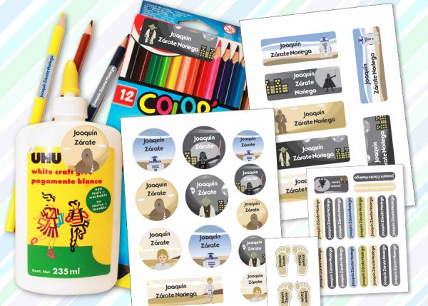 wars of the worlds Etiquetas material escolar - Pack Kinder