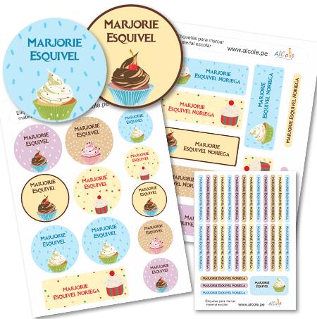 cupcakes Etiquetas para marcar la ropa - Pack Brothers