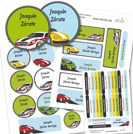 RACING CARS Etiquetas para marcar la ropa - Pack Brothers