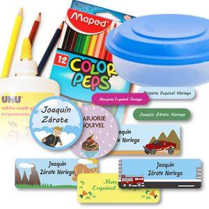 etiquetas material escolar combo1