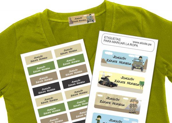 military Etiquetas para marcar la ropa