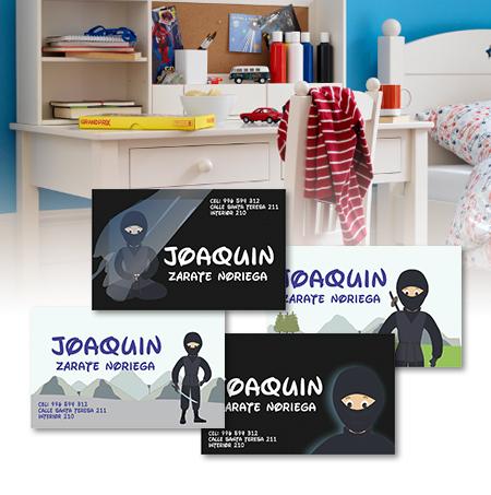 Tarjetas personalizadas – Ninja – AlCole – Etiquetas y Ropa ... 62b85d852fb43