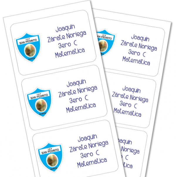 escudo colegio Etiquetas para cuaderno
