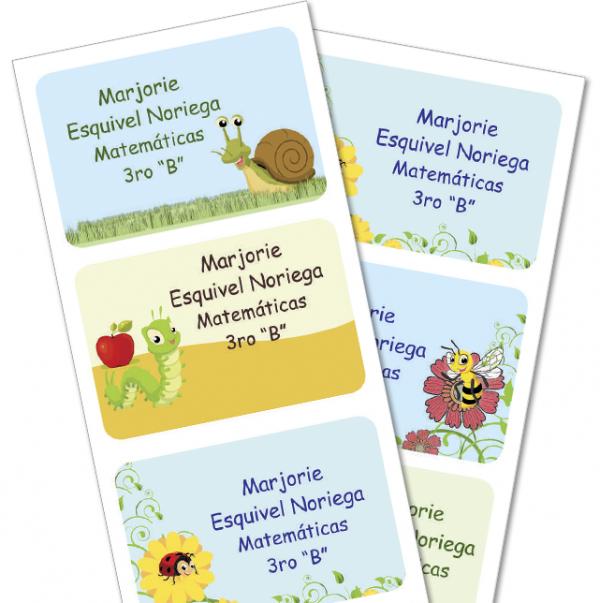 insectos Etiquetas para cuaderno