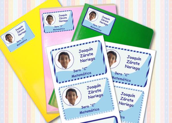 foto niño Etiquetas para cuaderno