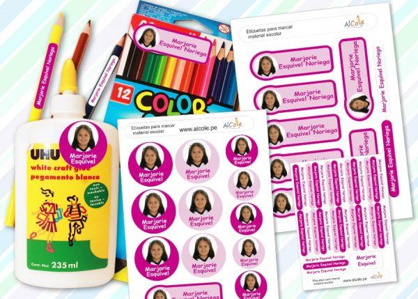 foto etiquetas marcar material escolar