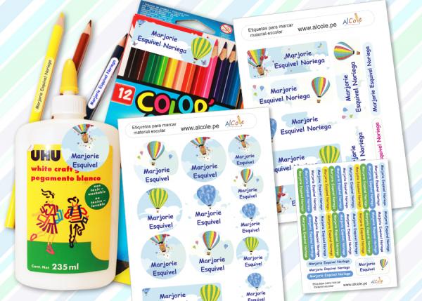 balloon etiquetas marcar material escolar pack brother