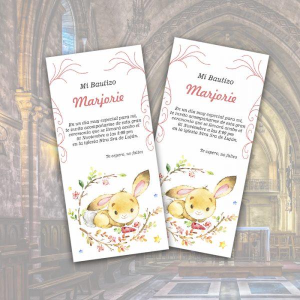 bautizo tarjeta conejito